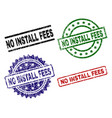 scratched textured no install fees stamp seals vector image vector image