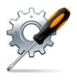 screwdriver and gear vector image vector image