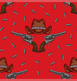 seamless pattern with pistols hats and cartridges vector image