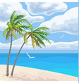seaside landscape with palm trees and clouds vector image