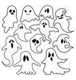 set of ghosts collection of ghosts for halloween vector image