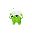 sick and painful tooth character holding head with vector image