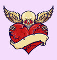 skull heart cracked love vector image vector image