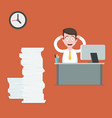 stressed businessman at the desk vector image vector image