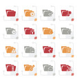 stylized different kind of folder icons vector image vector image