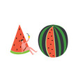 summer party set with man and watermelons flat vector image vector image