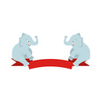 The flat figure two elephant sit on Red Ribbon vector image vector image