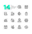 time management - set of line design style icons vector image