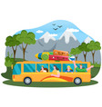 traveler bus on background mountain landscape vector image