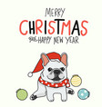 white french bull dog merry christmas vector image vector image