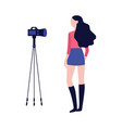 young girl recording video with camera in flat vector image vector image