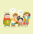 sick children with fever illness vector image