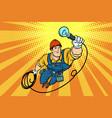 worker electrician light bulb flying superhero vector image