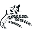 a mouse and wheat spikelets vector image