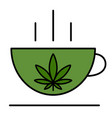 a cup with a leaf marijuana vector image vector image