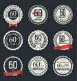 anniversary retro vintage badge collection 60 vector image vector image