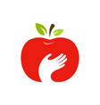 apple and hand logo label emblem design vector image