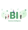 bi business intelligence concept with big word or vector image vector image