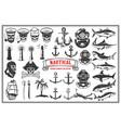 big set design elements for nautical emblems vector image vector image