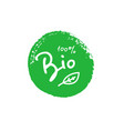 bio 100 percent tree leaf handwritten green brush vector image vector image