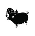 black pig with a hat on his head walking vector image vector image