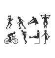 black silhouettes fitness people vector image