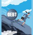 businesswoman running away from big debt weight vector image vector image