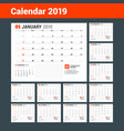 calendar template for 2019 year business planner vector image vector image