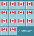 canadian flag waving on a pole on blue animation vector image vector image
