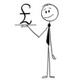 cartoon of waiter or businessman holding salver vector image