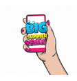 comic text sale phrase hold smartphone vector image