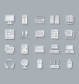 computer simple paper cut icons set vector image vector image