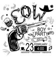 cowboy party invitationblack and white vector image