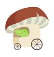 crocodile bariding car made mushroom funny vector image vector image