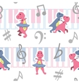 Dancing dino seamless pattern with music keyboards vector image vector image