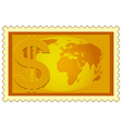 Dollar and Globe on stamp vector image