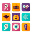 Flat Halloween Trick or Treat Square App Icons Set vector image vector image