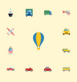 flat icons jeep airship aircraft and other vector image vector image