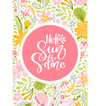 flower greeting card with text hello vector image vector image