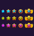 gems award progress golden amulets set with star vector image vector image