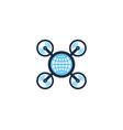globe drone logo icon design vector image