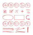 grade school results red highlight markers set vector image vector image
