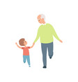 grandpa walking with his little grandson vector image vector image