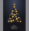 greeting card with christmas tree shiny vector image