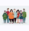 group people wearing medical mask coronavirus vector image