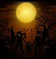 halloween background with zombies tombstones and vector image