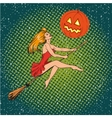 Halloween concept poster in retro comic pop vector image