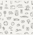 hand drawn travel doodles seamless background vector image vector image