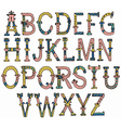 hand drawn vintage alphabet vector image vector image