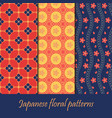 japanese pattern set seamless floral fabric vector image